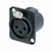 Neutrik NC3FD-LX-B 3-Pole XLR Female Chassis Receptacle Solder Black/Gold