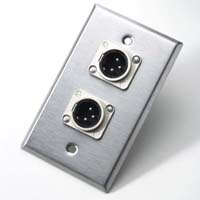 Neutrik 203M Single Gang Wallplate 2 - NC3MD-L-1 3-Pin Male Chassis Receptacles