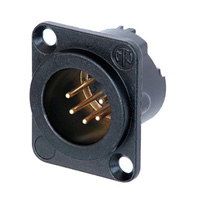 Neutrik NC5MD-LX-B 5-Pole XLR Male Receptacle, Black & Gold, Solder Cups